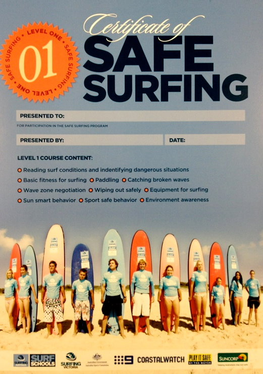safe surfing certificate surf lesson